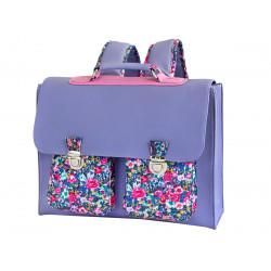 Cartable école primaire enfant violet et fleurs