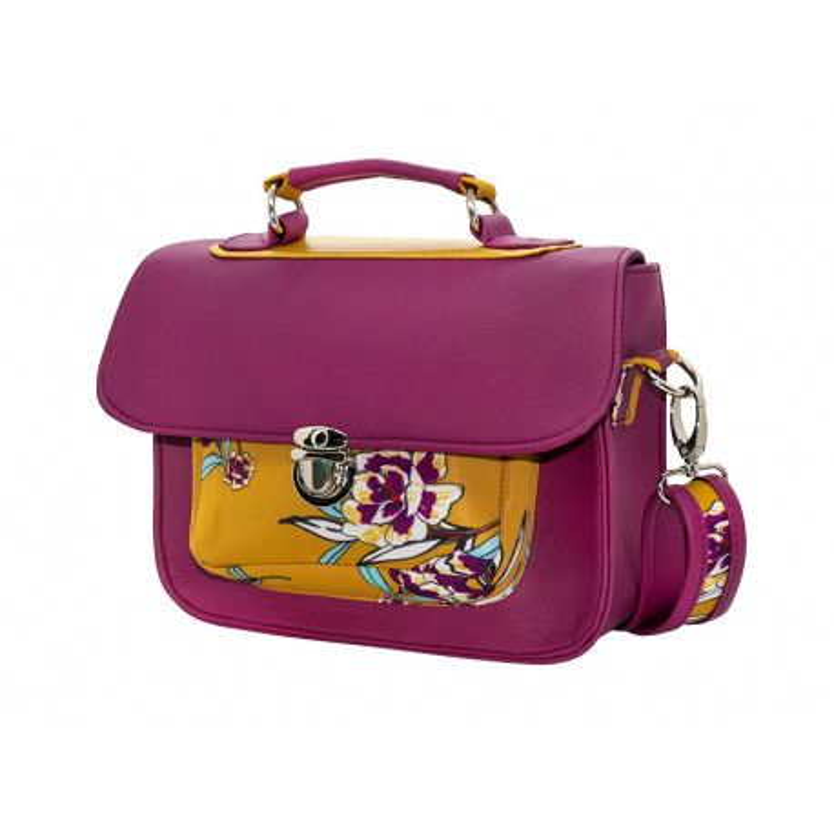 Sac à main bandoulière style cartable rétro rose violine et moutarde à fleurs