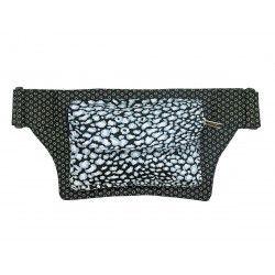Sac banane tissu noir et gris argent léopard