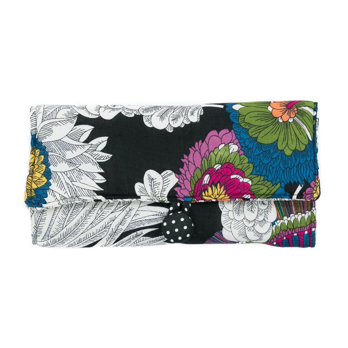 Trousse à bijoux de voyage noire et fleurs multicolores