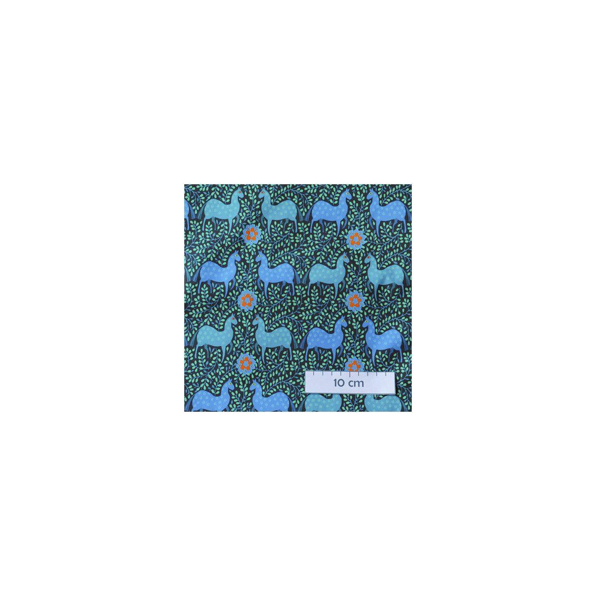 Coton bio Cheval bleu folk Odile Bailloeul