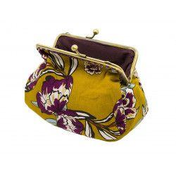 Grand porte-monnaie pochette jaune moutarde et fleurs
