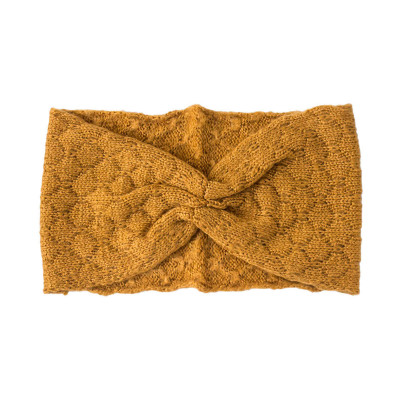 Bandeau headband rétro laine jaune or moutarde
