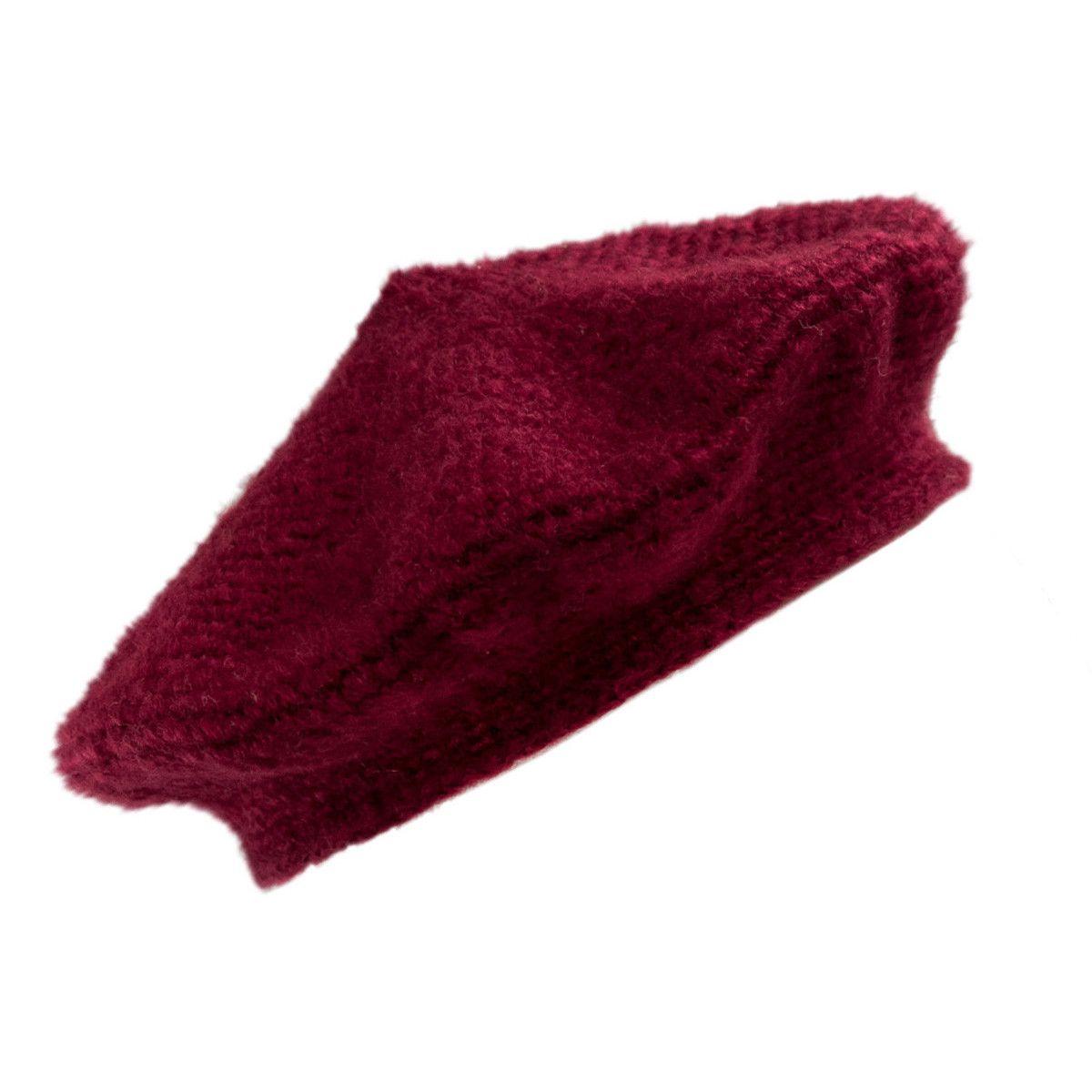Béret laine rouge prune