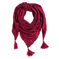 Châle triangle laine rose framboise