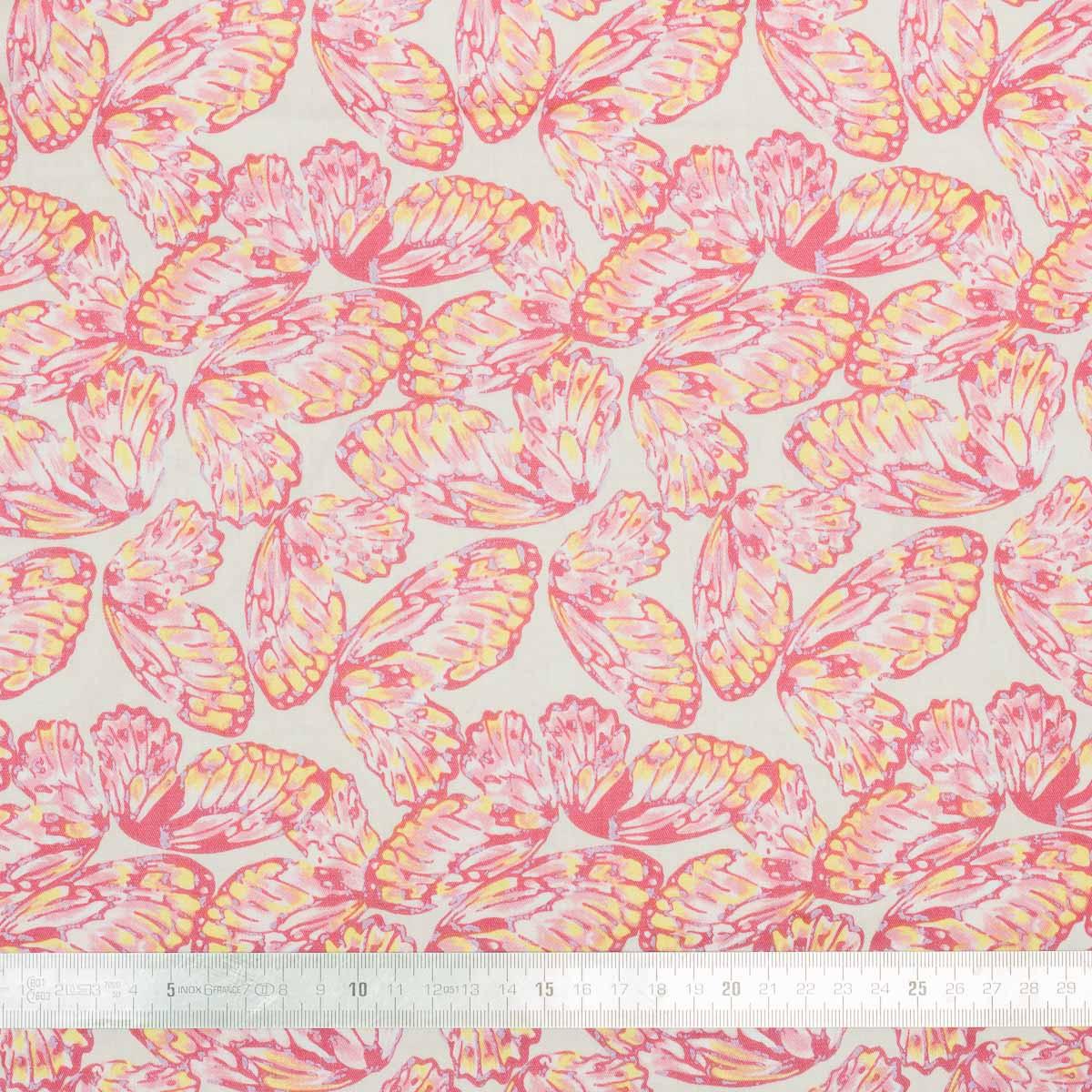 Tissu coton Pink Butterfly