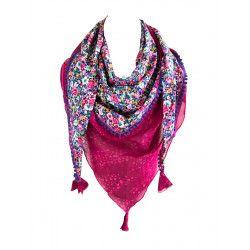 Foulard triangle rose et fleurs