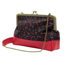Sac à main pin-up rétro noir et fleurs rouge