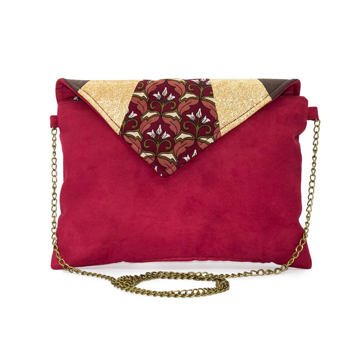 Pochette enveloppe or et rouge terracotta