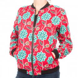 Bomber coton femme rouge et fleurs vert lagon