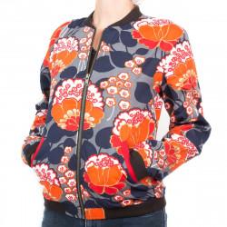 Bomber coton femme fleurs orange et bleu