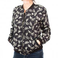 Bomber coton femme noir et feuilles de ginkgo