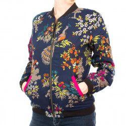 Bomber coton femme bleu nuit et motifs fleurs paon