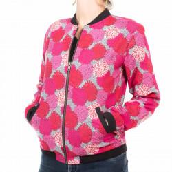 Bomber coton femme fleurs pivoines roses