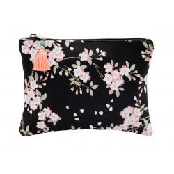 Grande pochette en coton noir à fleurs roses