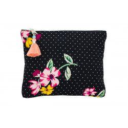 Grande pochette plate en coton noir à pois et fleurs