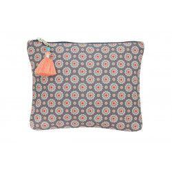 Grande pochette plate en coton gris et rose