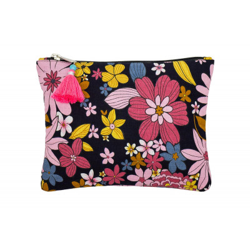 Grande pochette plate en coton noir et fleurs