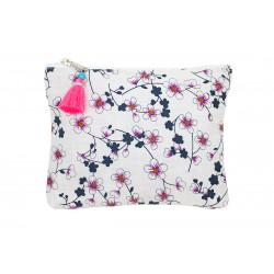 Grande pochette plate en coton blanc et fleurs cerisiers
