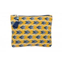 Grande pochette plate en coton jaune et bleu foncé