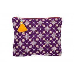 Grande pochette plate en coton violet prune
