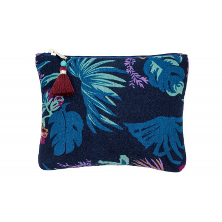 Grande pochette plate en coton bleu marine et feuilles jungle