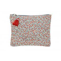 Grande pochette plate en coton gris et petits coquelicots rouges