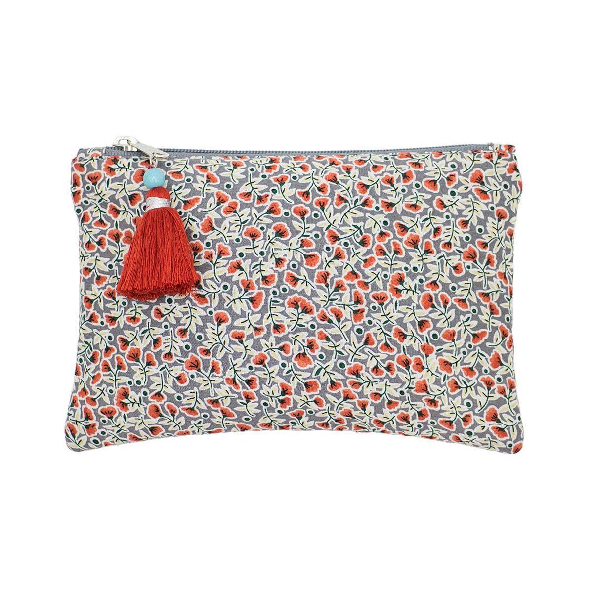 Petite pochette plate coton gris et petites fleurs rouges
