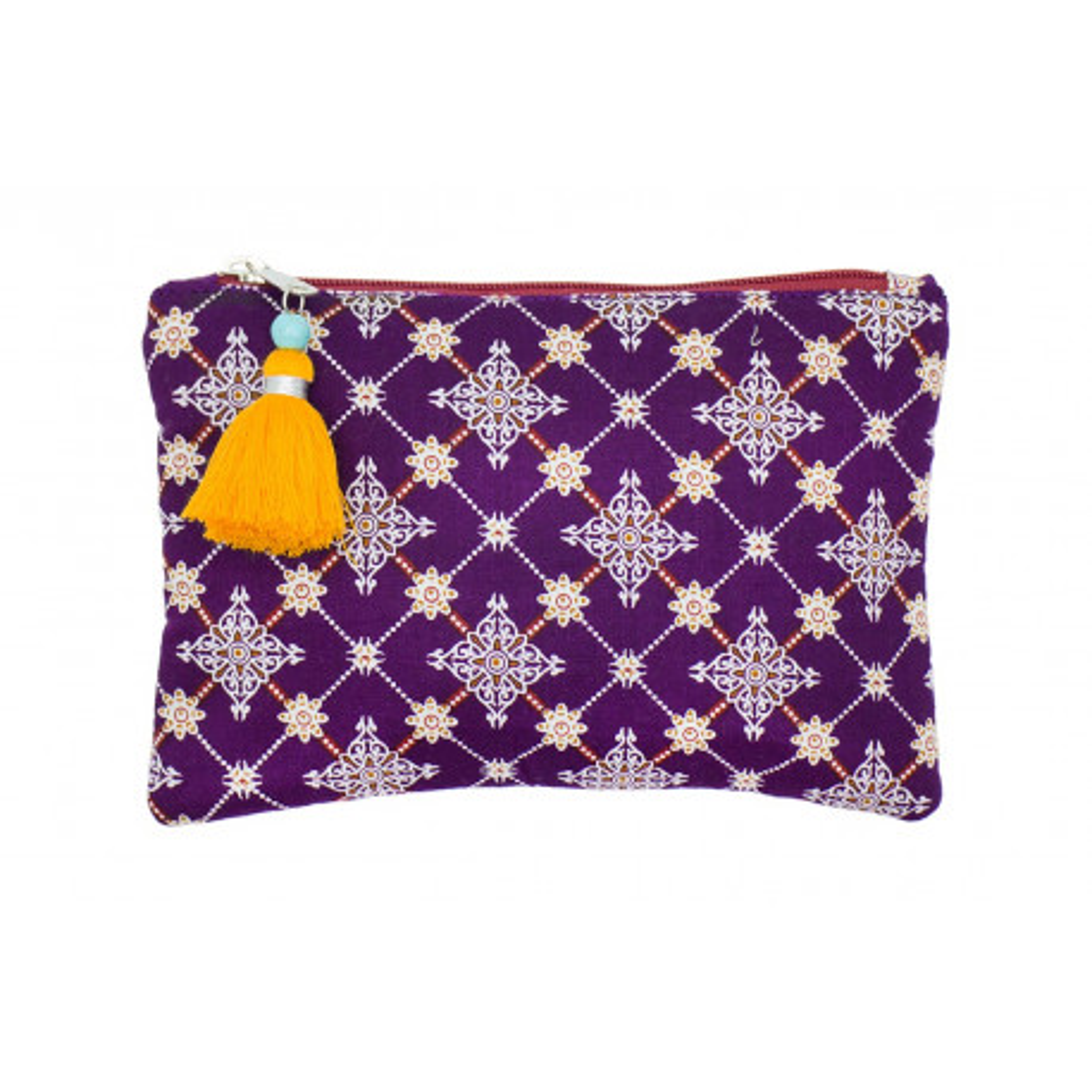 Petite pochette plate coton violet prune
