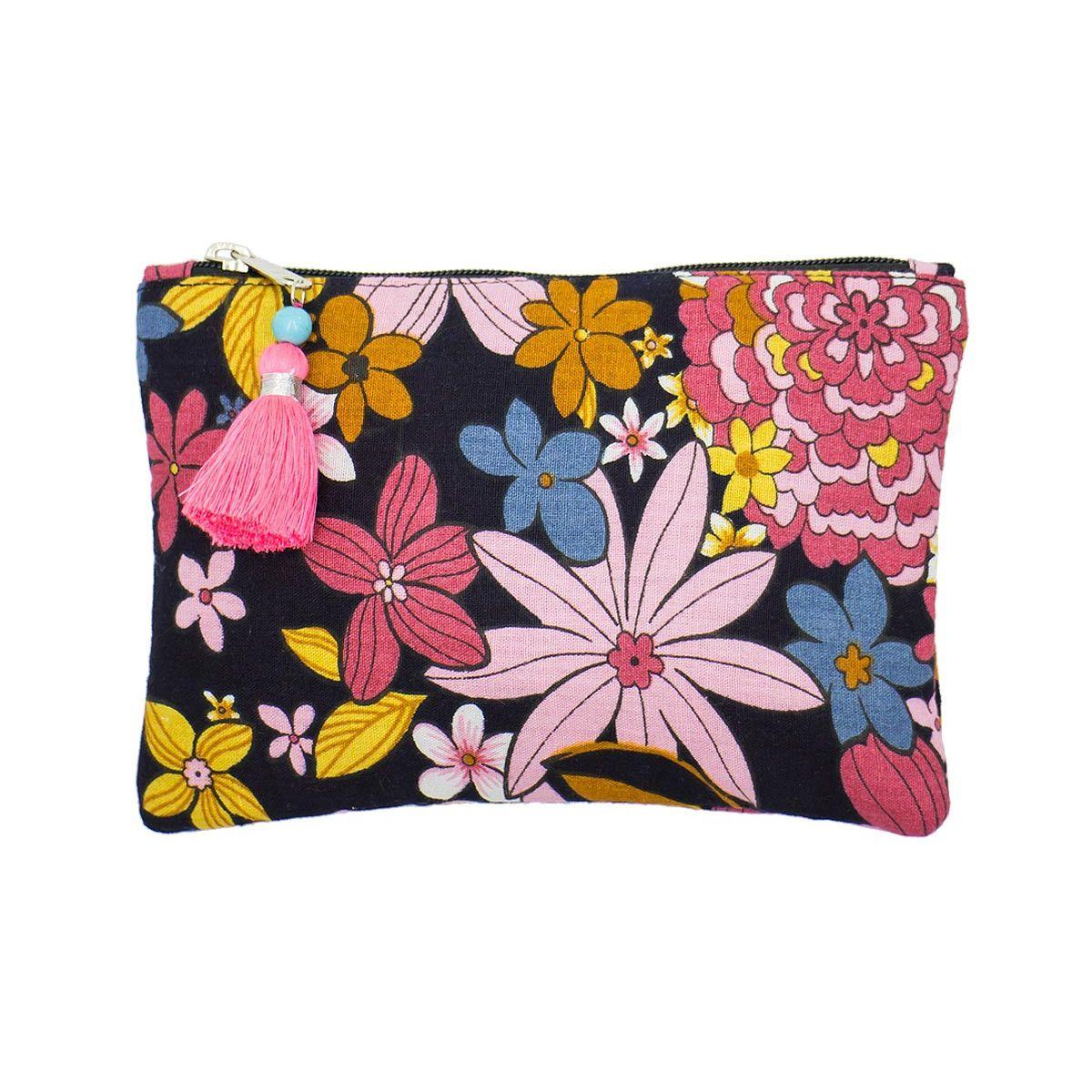 Petite pochette plate coton noir et fleurs colorées