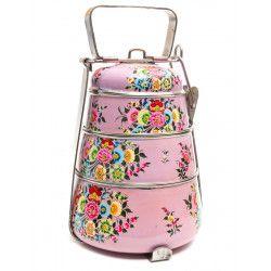 Lunch box inox peinte à la main Agara pink