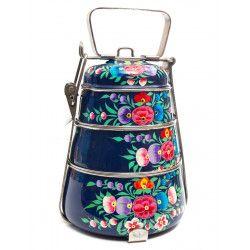 Lunch box inox peinte à la main Charanka blue
