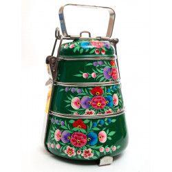 Lunch box inox peinte à la main Charanka green