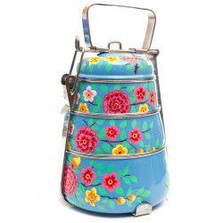 Lunch box inox peinte à la main Shivara blue