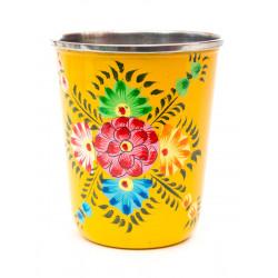 Verre inox peint à la main Suraya jaune