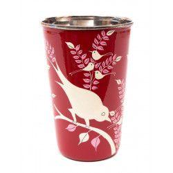 Grand verre inox peint à la main Birdy
