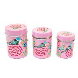 Boite inox peinte à la main Pondichery pink