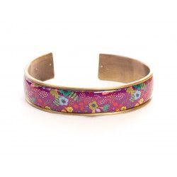 Manchette, bracelet, résine, motif Bouquet