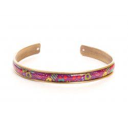 Manchette fine, bracelet, résine, motif Bouquet