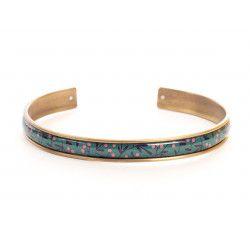 Manchette fine, bracelet, résine, motif Berrie verte
