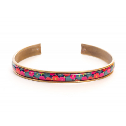 Manchette fine, bracelet, résine, motif Liberty