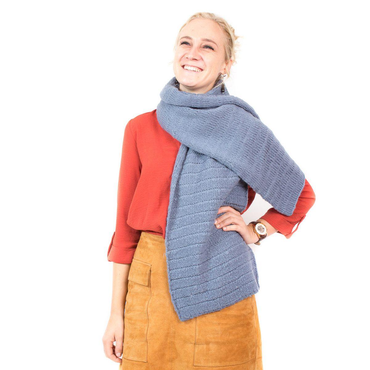 Echarpe laine gris souris