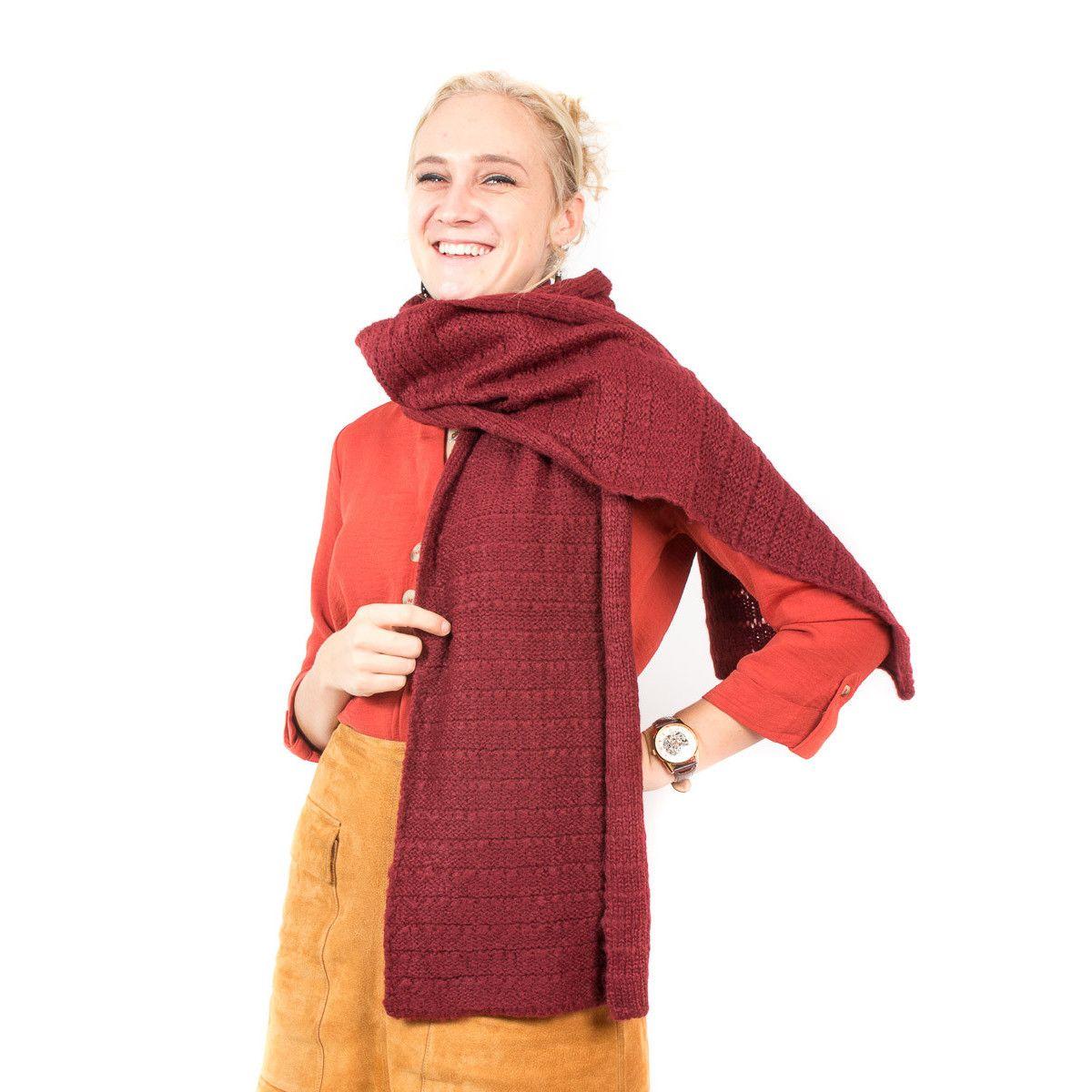 Echarpe laine bordeau rouille