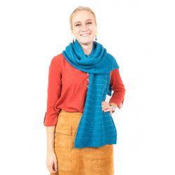 Echarpe laine bleu canard