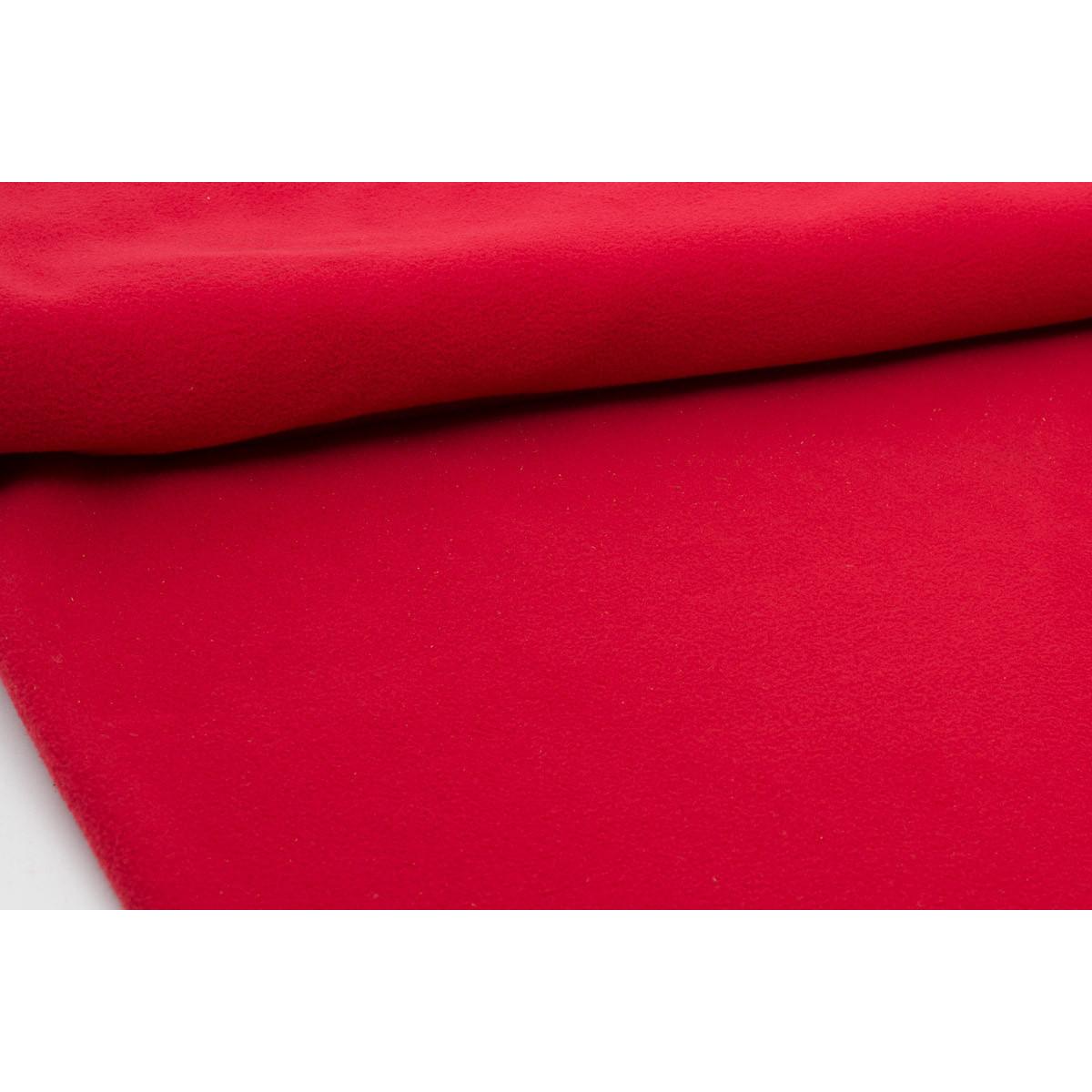Tissu polaire unie rouge