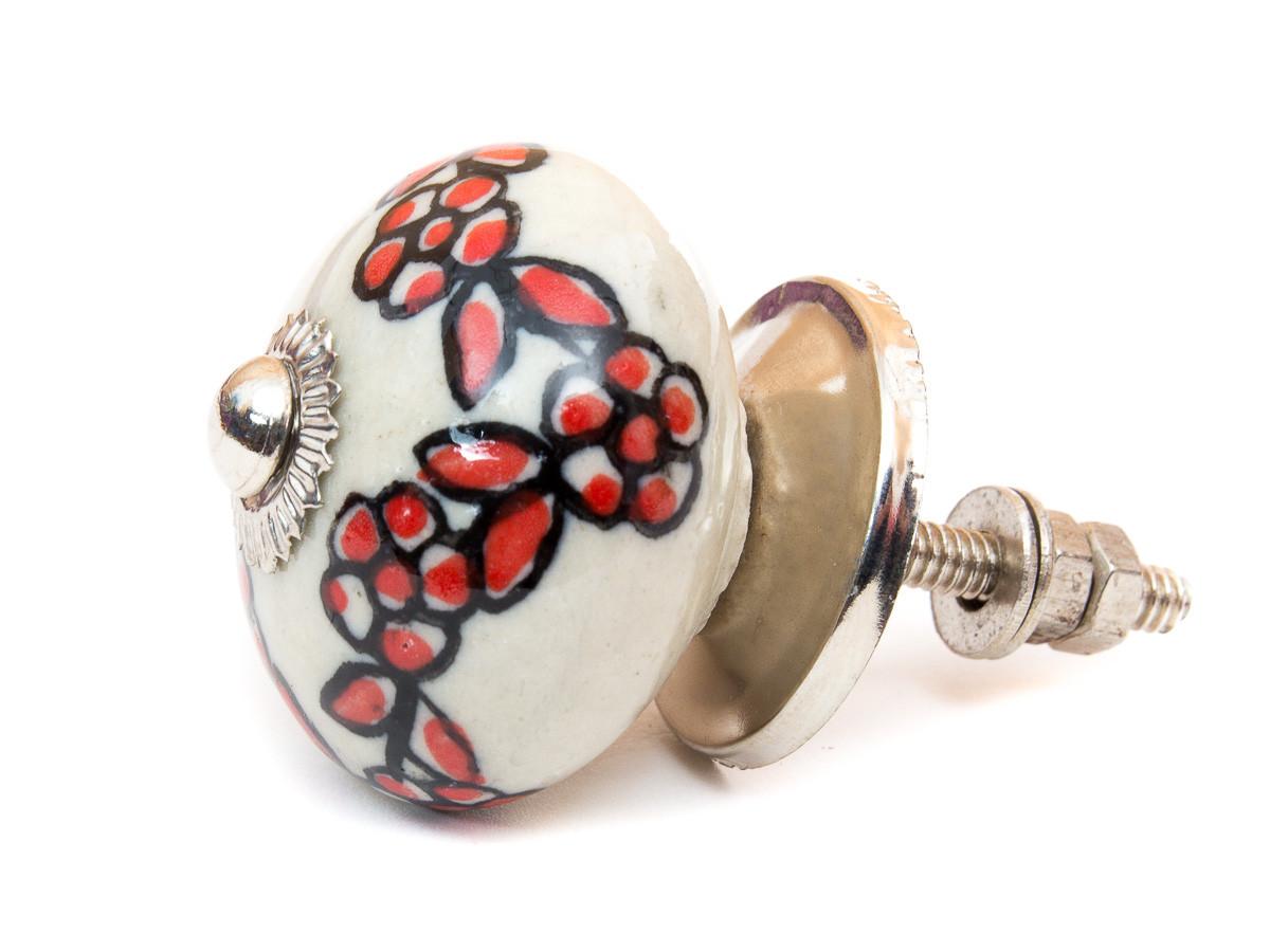 Bouton De Meuble Ceramique Couronne De Fleur Rouge