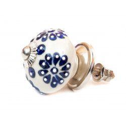 Bouton de meuble céramique Fleur indigo