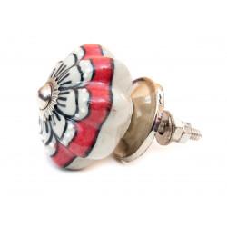 Bouton de meuble céramique Rouge fleur blanche