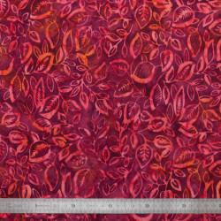 Tissu coton Batik feuillage bordeau