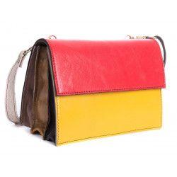 Sac cuir recyclé pochette bicolore rouge et jaune